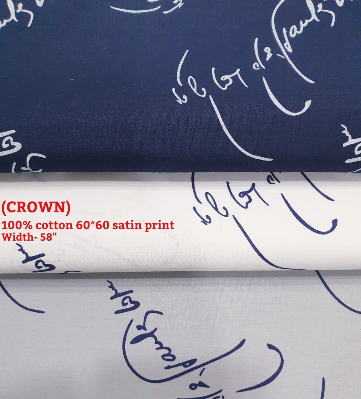 CROWN 100% cotton 60*60 satin fabric