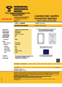 Emerald Diamond 3.64ct F VS1 Shape IGI Certified CVD TYPE2A
