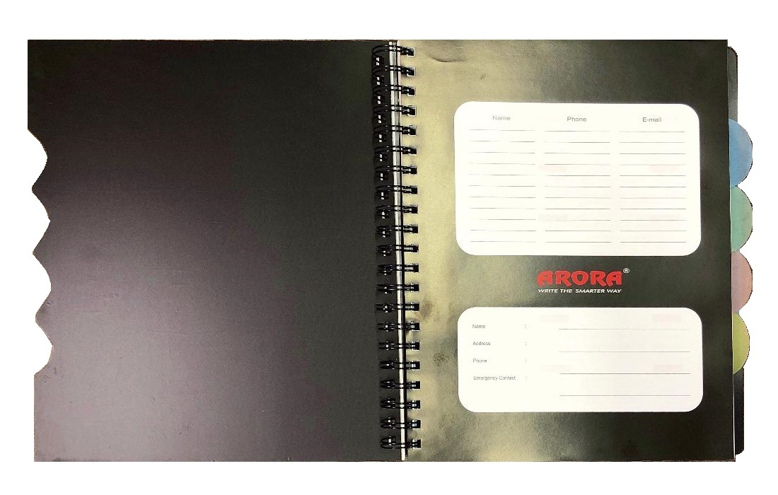 Executive Size 5 Subject Premium Wiro Notebook - 70 GSM, Single Ruled, 300 Pages
