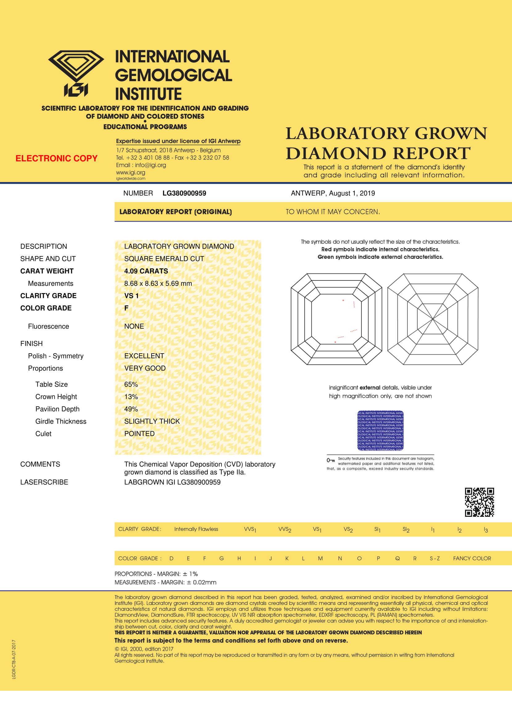 ASSCHER Emerald Diamond 4.01ct G VS2 Shape IGI Certified CVD TYPE2A
