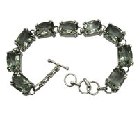 Fantastic Green Amethyst Stone 925 Silver Bracelet