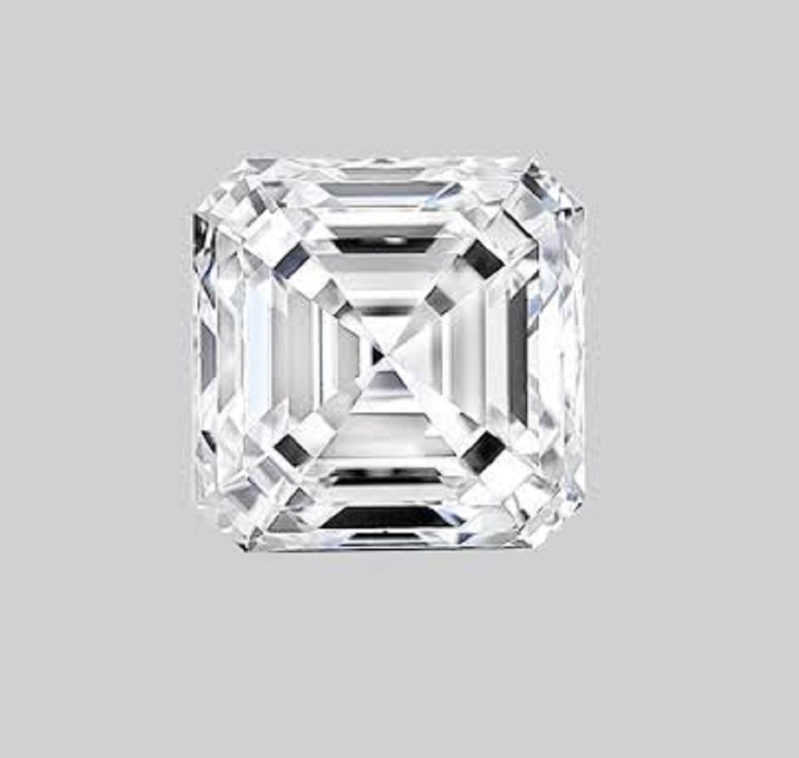 ASSCHER Emerald Diamon 4.14ct F VS1 Shape IGI Certified CVD TYPE2A