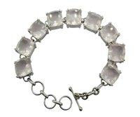 Superb Rose Quartz Stone 925 Silver Bracelet