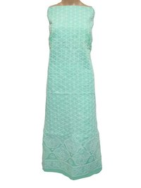 Ethnava Hand Embroidered Cotton Sea Green Kurti Piece
