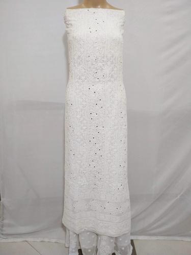 Ethnava Hand Embroidered Viscose Mukiash White Kurti Piece