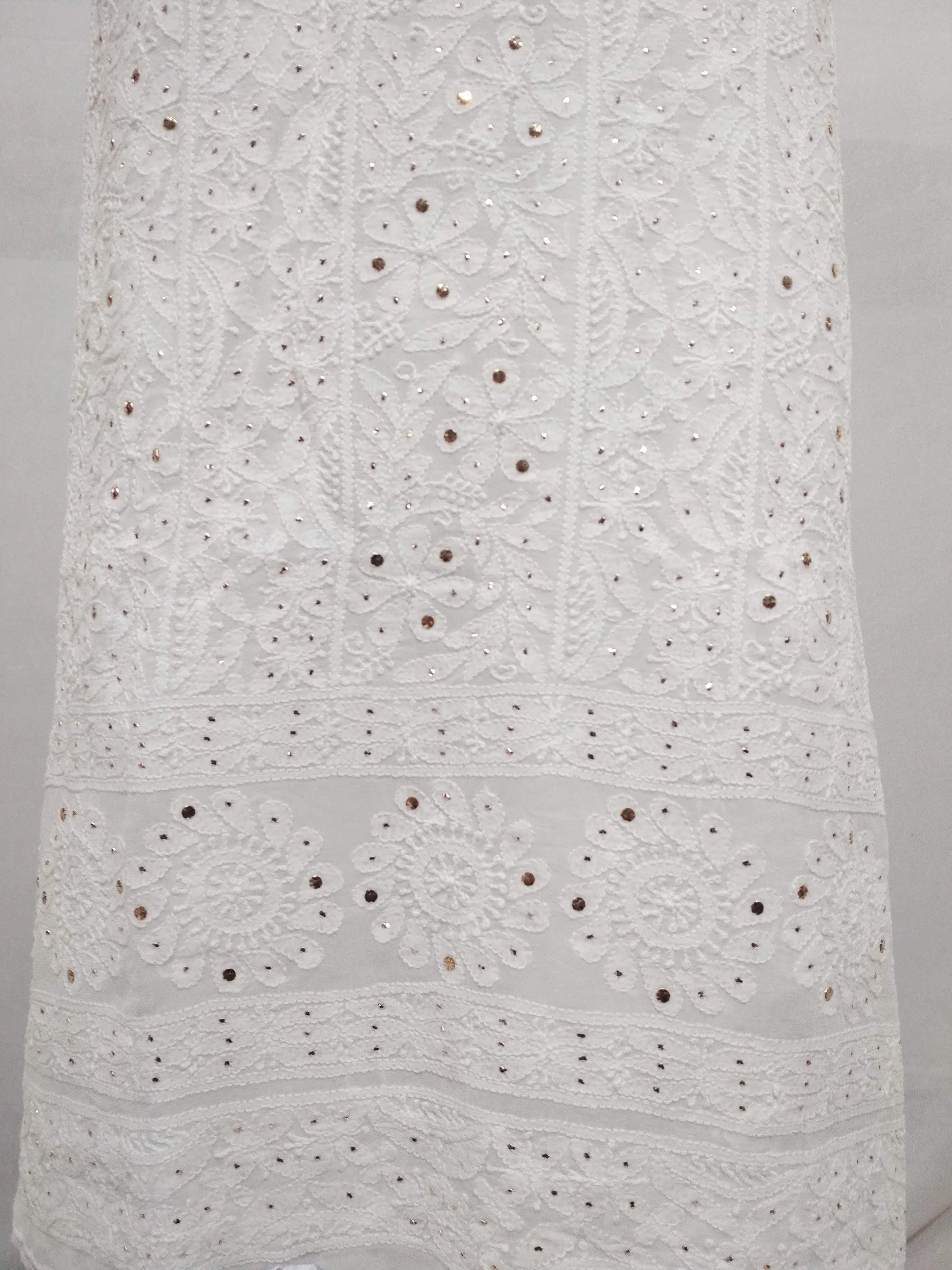 Viscose Mukesh Work White Kurti Piece