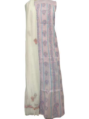 Ethnava Hand Embroidered Pink Cotton Suit 3pcs Set