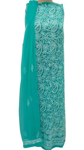 Ethnava Hand Embroidered Sea Green Georgette Suit 3pcs Set