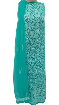 Ethnava Hand Embroidered Sea Green Georgette Suit 3pcs Set