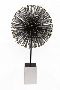 Starbrust Black Ball Gold Dots Tips Marble Base Sculpture