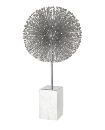 Starbrust Silver Ball with Gold Tips Marble Base Sculpture