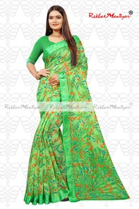 Linen Satin Weaved Geometrical Saree With Blouse