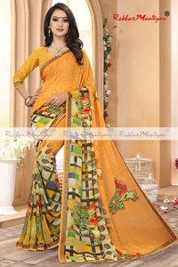 Weightless Georgette Geometrical Printed Sarees With Blouse