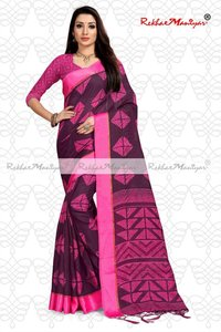 Linen Cotton Geometrical Printed Saree With Blouse