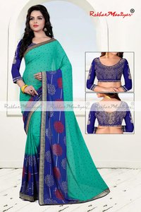 Faux Georgette Geometrical printed Sarees With Blouse