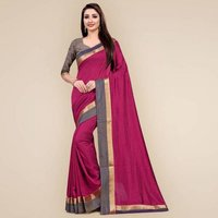 Two Tone Vichitra Silk Jacquard Border Sarees With Blouse