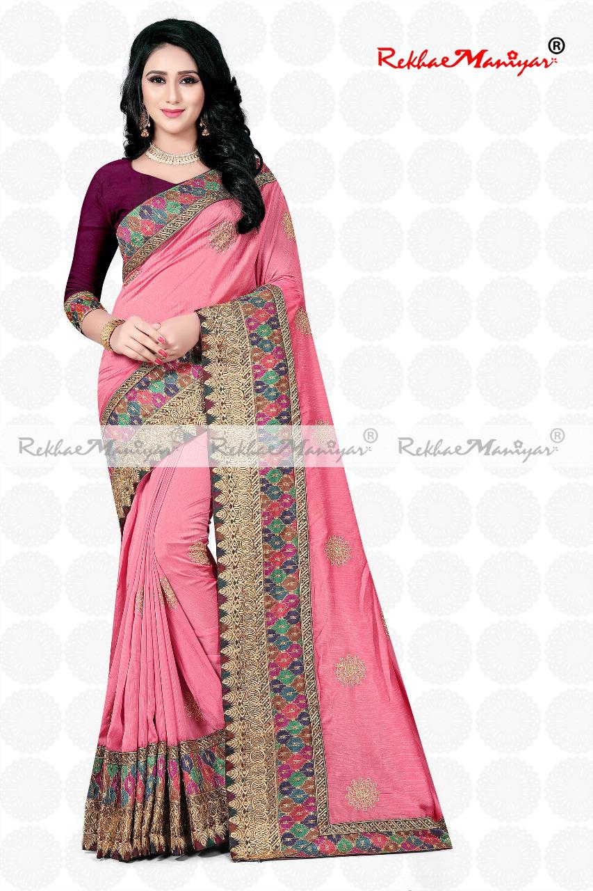 Shagun Silk Heavy Embroidery Zari Work Sarees With blouse