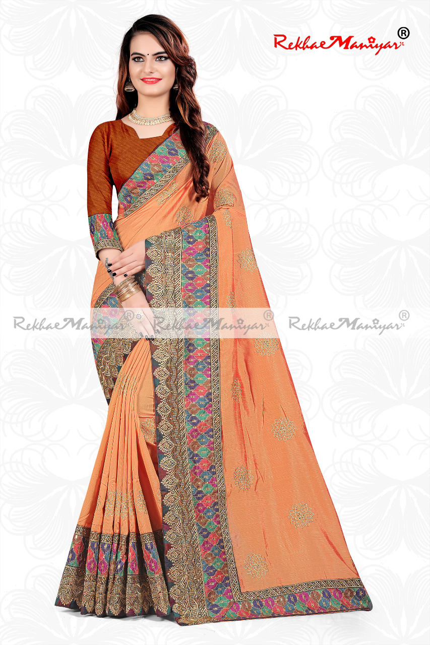 Shagun Silk Embroidery Zari Work saree With Blouse