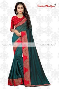 Art Silk Lace Work Embroidery border Saree With Blouse