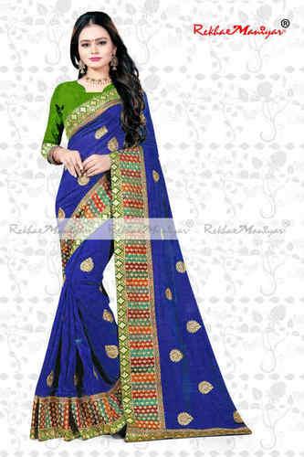 Vichitra Silk Zardoshi Diamond Work Zari Border Embroidered Saree With Blouse