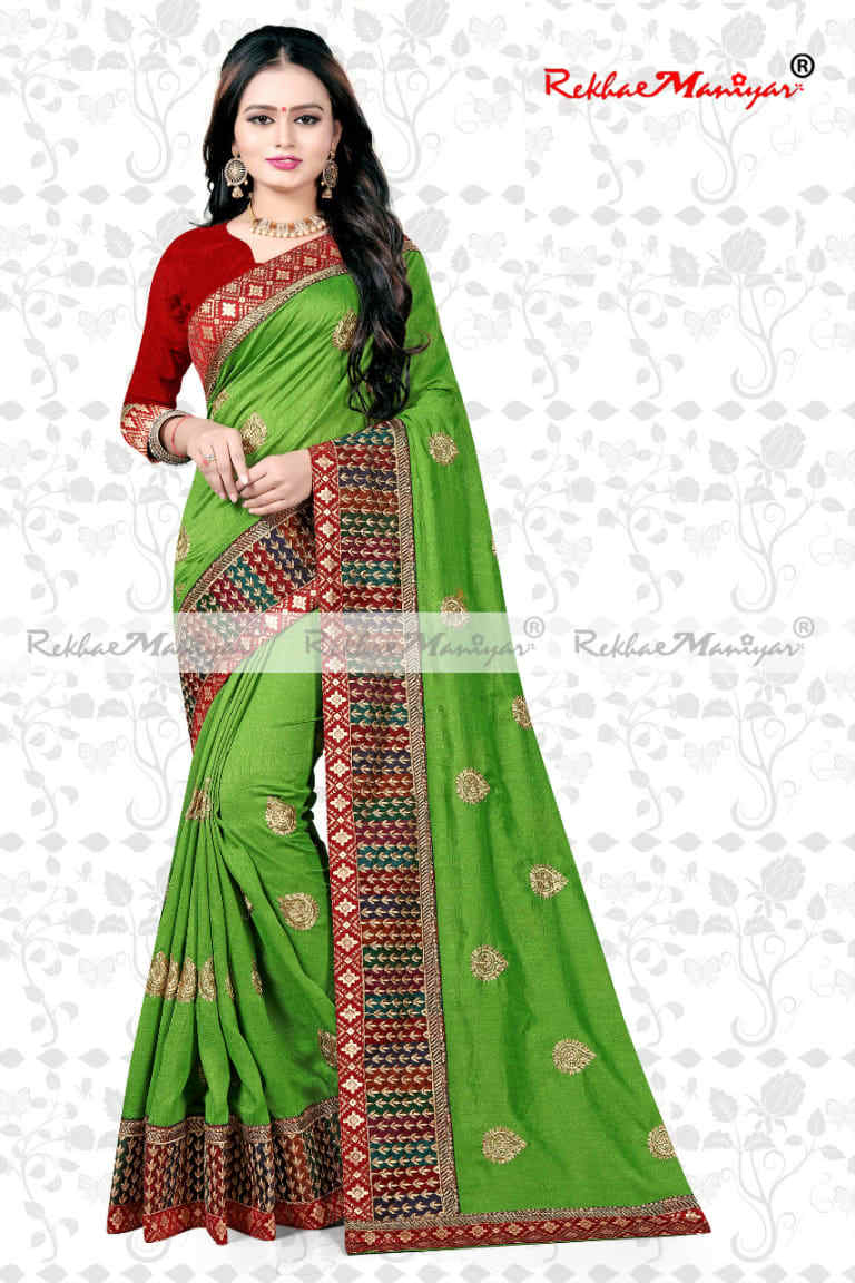 Vichitra Silk Zardoshi Diamond Work Zari Border Embroidered Saree With Blouse