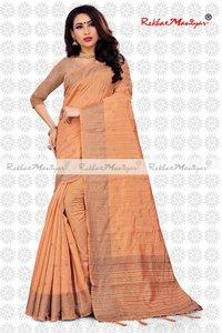 Two Tone Vichitra Silk Stone Work Jacquard Bordered Saree With blouse