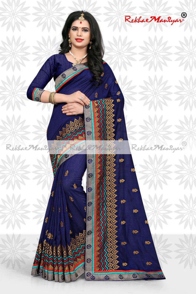 Art Silk Floral lace Border Silk Blended Saree With Blouse