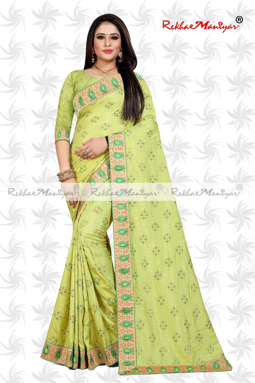 Dola Silk Diamond butta Work Embroidery Bordered Saree With blouse