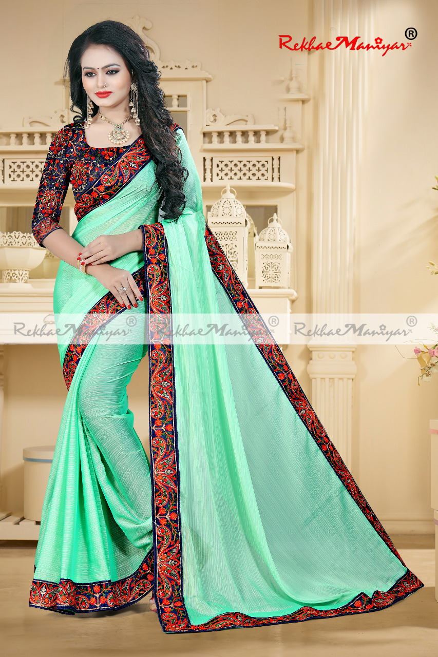 Embroidery Bordered Silk Sarees with Blouse