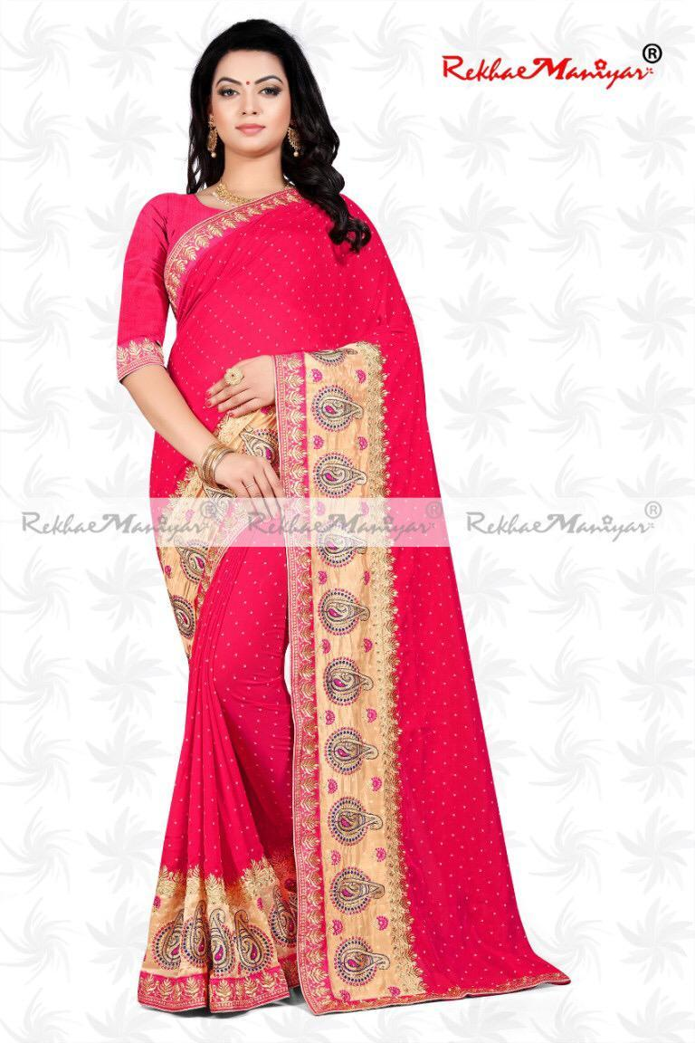 Two Tone Jeny Jacquard Butta Work Saree With Blouse