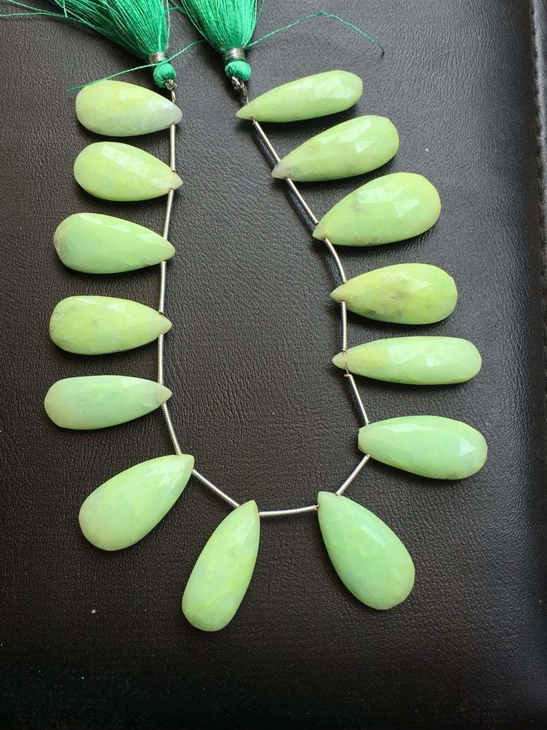 8 pieces rare chrysoprase pear faceted long beads, Natural chrysoprase long pear