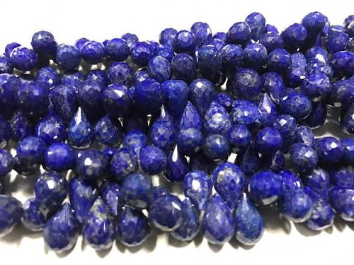 Lapis Drops Shape Faceted Beads, 8/12mm, 8 Inches Strand
