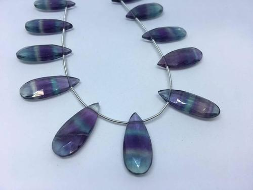 Natural Multi Fluorite Smooth Pear Shaped Beads, 10x25-10x30mm, 11 pieces in a Strand