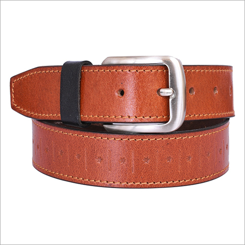 Mens tooled Leather Belt