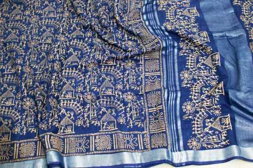 Cotton slub printed saree