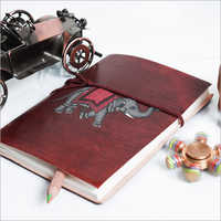 Elephant Print Leather Journal Diary