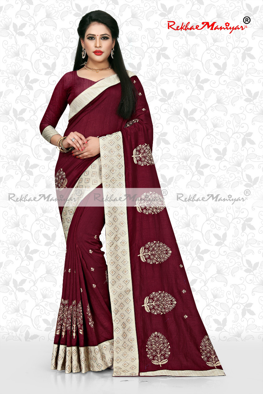 Art Silk Small Butti Panel Work Swarovski Diamond lace Saree