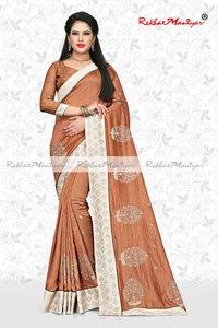Art Silk Small Butti Panel Work Swarovski Diamond lace Saree