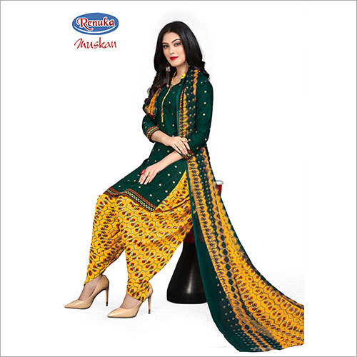 Synthetic Printed Patiala Salwar Suit