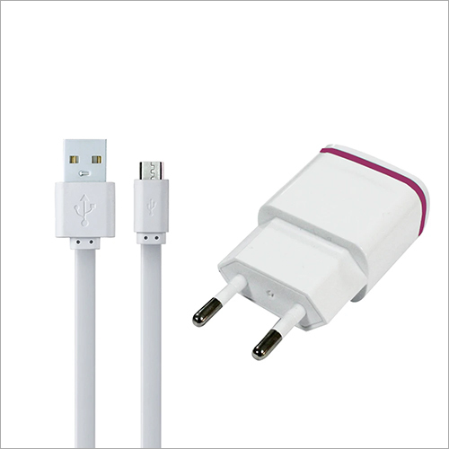 White Android Charging Data Cable And Cell Phone Adapter