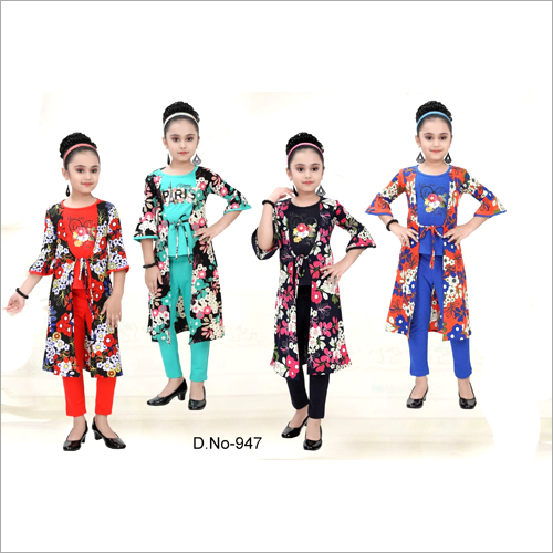 Girls Fancy Top And Pant With Shrug Set