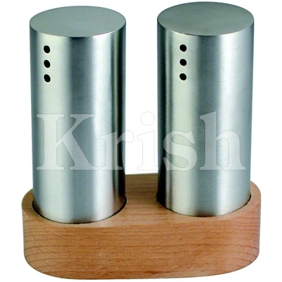 Small Salt & pepper with Wooden Stand