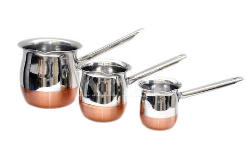 Copper Bottom Coffee Warmer With SS pipe Handle - 3 Pcs