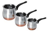 Copper Bottom Coffee Warmer With Bakelite Handle- 3 Pcs