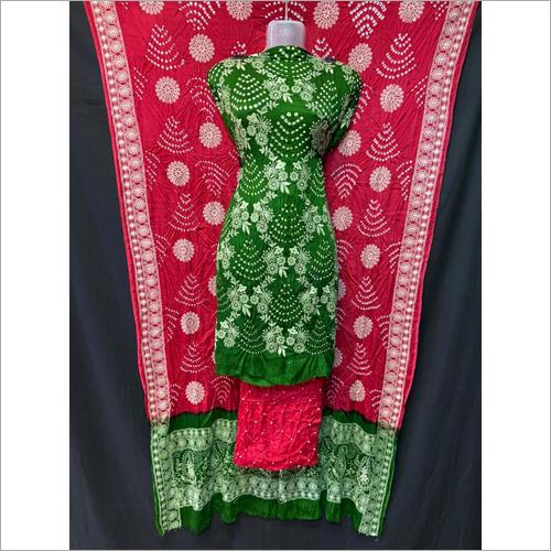 Handmade Cotton Bandhani Dress Material