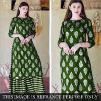 Rayon Long Sharara Suit