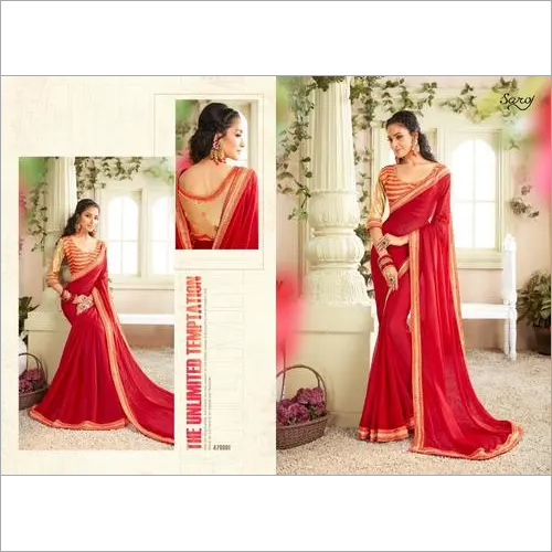 Royal red Chiffon Saree