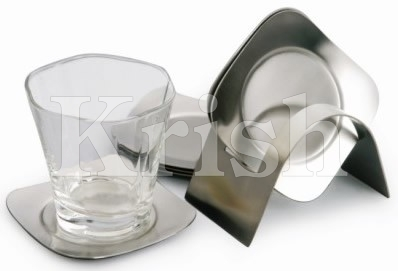Rounded Square Coaster With Stand - 6 Pcs