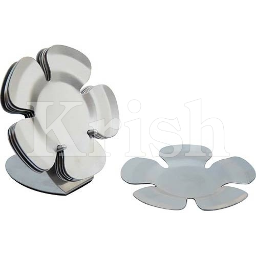 Floral Coaster With Stand - 6 Pcs