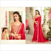 Red Color Chiffon saree